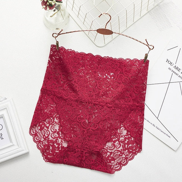 Lace Mesh Floral Seamless Briefs