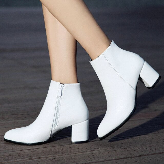 Comfy Square High Heel Ankle Boots