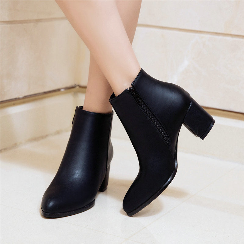 Comfy Square High Heel Ankle Boots - LEPITON