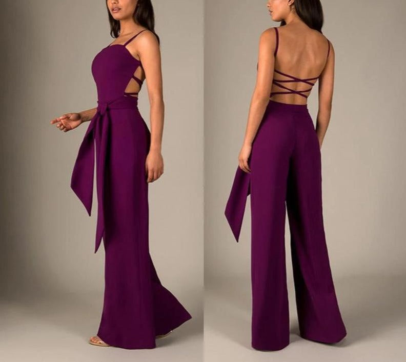 Backless Sleeveless Long Jumpsuit - LEPITON
