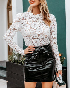 Elegant Lace See-Through Blouse