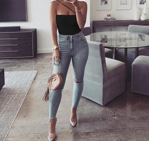 Sleeveless Solid Skinny Bodysuit - LEPITON