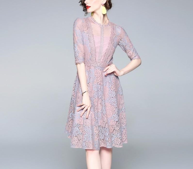 Lace Double-Color Mesh Medium-length A-Shaped Dress