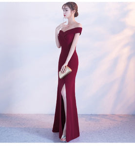 Off Shoulder Burgundy Evening Dress