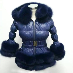 Real Fox Fur Thick Duck Feather Down Coat - LEPITON