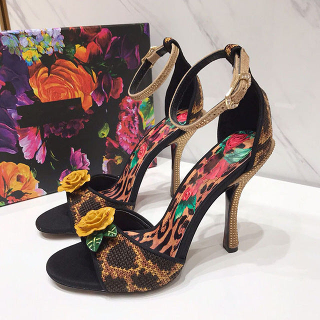 Hand Knitted Flower Leopard High Heel Shoes