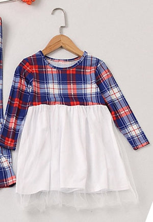 Matching Outfits Mother & Daughter Long Sleeve Plaid Dress