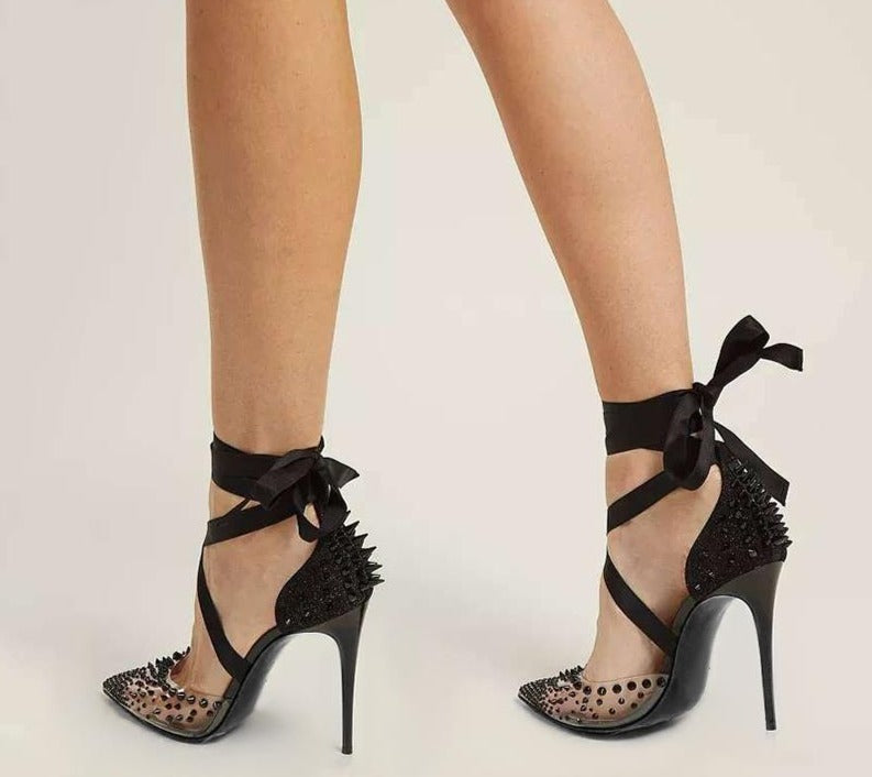Luxury Lace Up Spikes Pumps