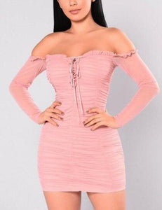 Lace Off Shoulder Dress - LEPITON