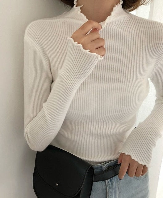 Slim Turtleneck Ruched Sweater - LEPITON