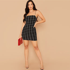 Grid Print Bodycon Slip Dress - LEPITON