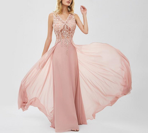 Long V-Neck Evening Dress - LEPITON