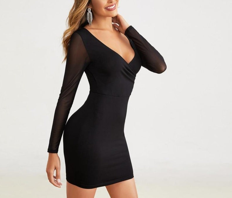 Surplice-Neck V-Back Mesh Sleeve Bodycon Mini Dress - LEPITON