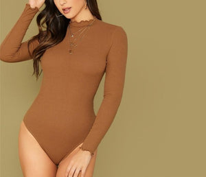 Camel Lettuce Edge Rib-Knit Fitted Bodysuit - LEPITON
