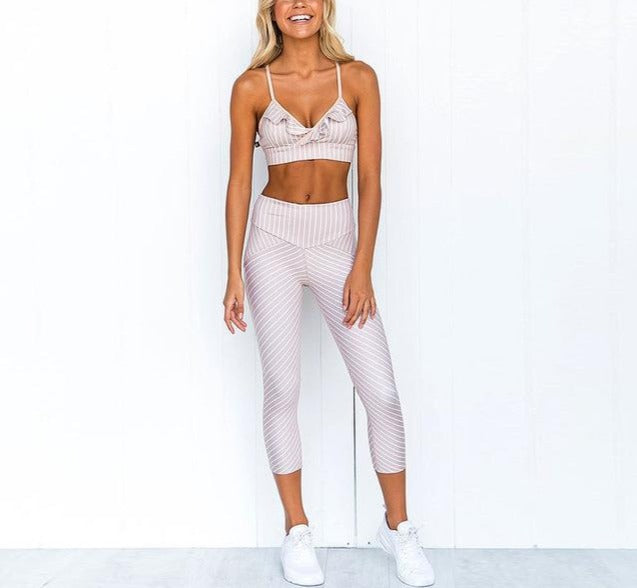 Yoga Set with Ruffle Crop Top