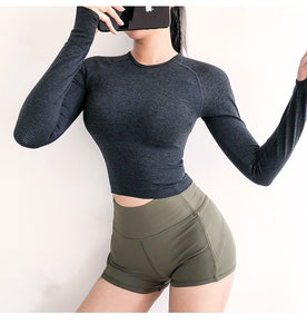 Women Seamless Long Sleeve Crop Top