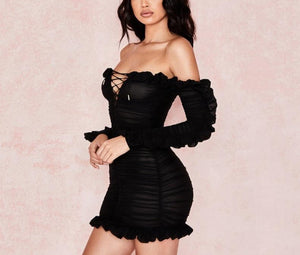 Bodycon Slash-Neck Draped Mini Dress - LEPITON