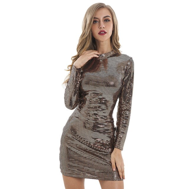 Long Sleeve Vintage Sequined Sheath Mini Bodycon Dress - LEPITON