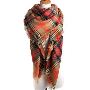 Brown Plaid Fashion Shawl