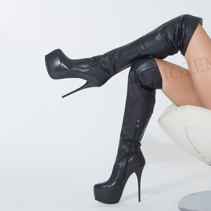 Over Knee Zip Stiletto High Heels - LEPITON