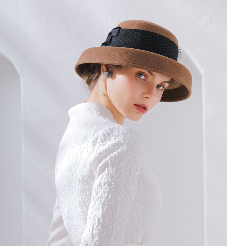 Quality Fedora Lace Solid Dome Wool Felt Hat - LEPITON