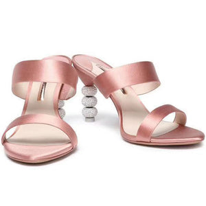 Luxury Satin Peep Toe Rhinestone High Heels Sandals