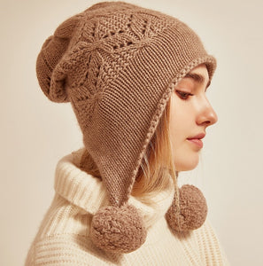 Cashmere Three-Hair Ball Hat - LEPITON