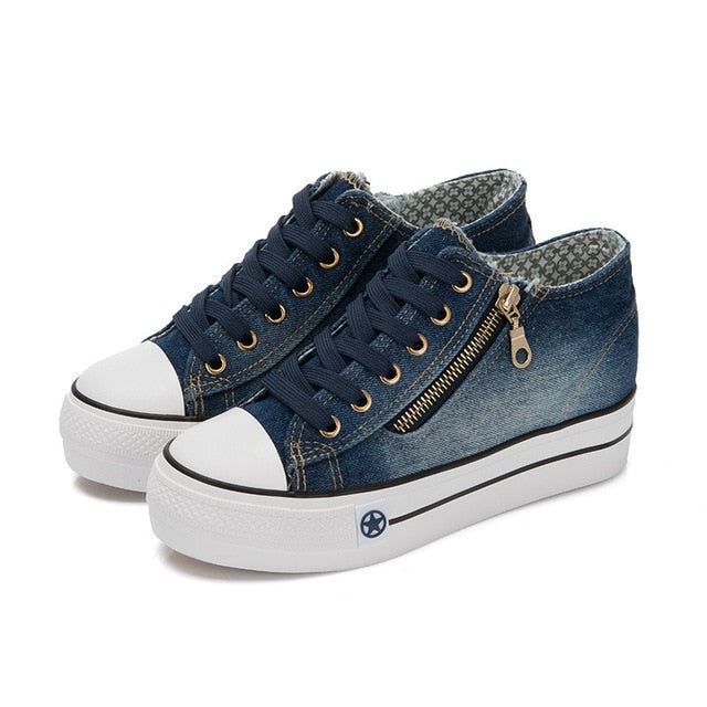 Denim Canvas Thick Bottom Shoes - LEPITON