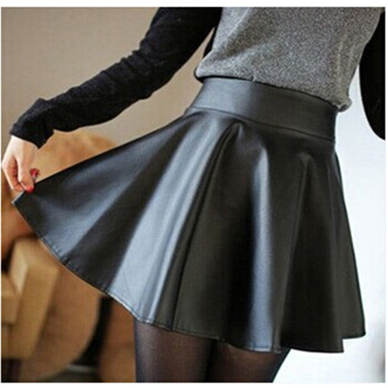 Slim Thin High-Waist PU Pleated Mini Skirt
