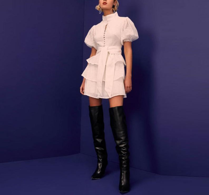 Puff Sleeve Turn Down Collar Dress - LEPITON