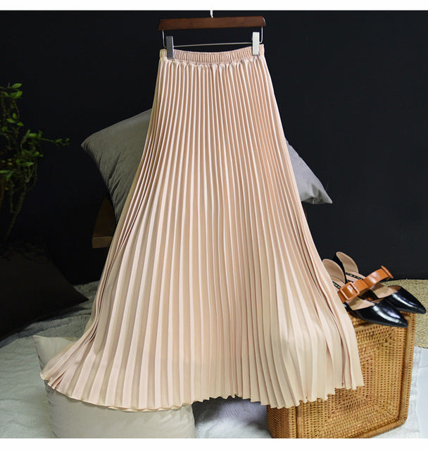 Pleated High-Waist Long Skirt - LEPITON