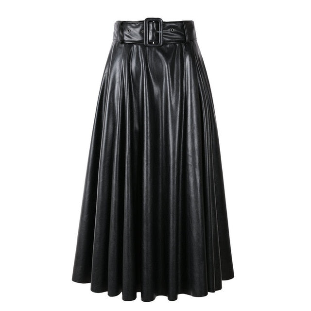 PU Leather High Waist Long Skirt