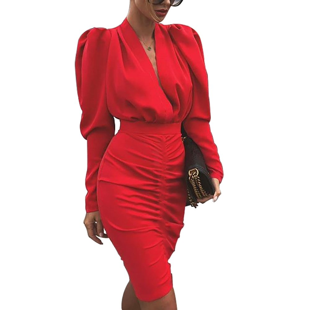 Plunging Neck Puff Sleeve Bodycon Slim Dress - LEPITON