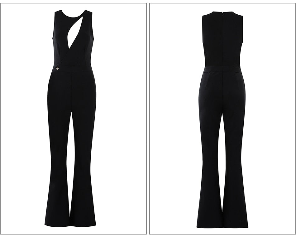 Hollow-Out O-Neck Sleeveless Long Pants Bandage Bodycon Jumpsuit