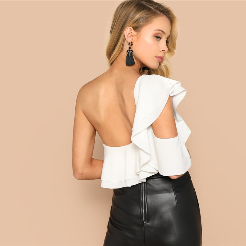 Layered Ruffle One Shoulder Mid-Waist Skinny Backless Bodysuit - LEPITON