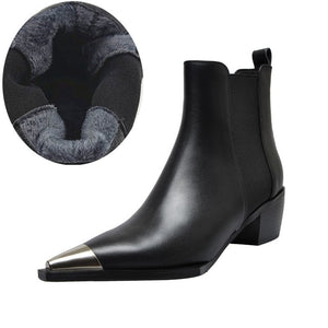 Natural Genuine Leather Metal Pointed Toe Ankle Boots