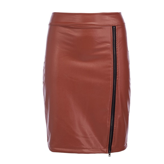 Lace Patchwork Bodycon High Waist Zipper PU Leather Pencil Skirt