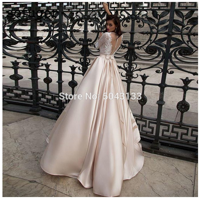 Elegant Satin Champagne Wedding Dress