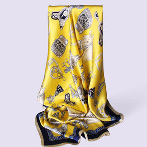 Vintage Yellow Printed Square Silk Scarf - LEPITON