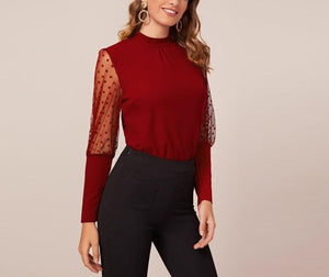 Dobby Mesh Leg-of-Mutton Sleeve Top - LEPITON