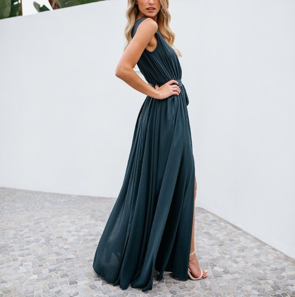V-Neck Backless Chiffon Bandage Maxi Dress - LEPITON