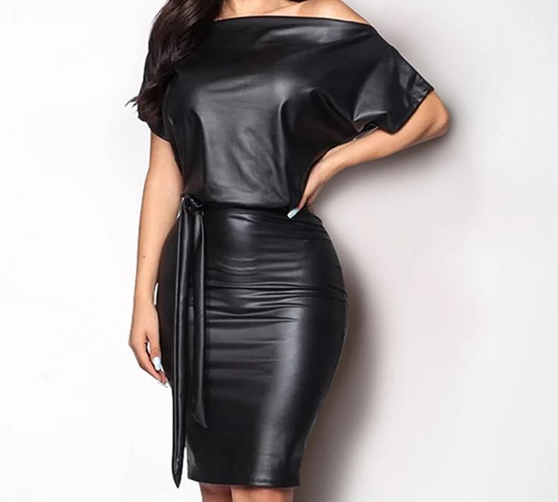 Off-Shoulder Short Sleeve Black PU Leather Dress - LEPITON