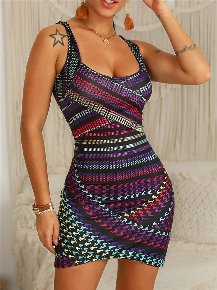 Slim Fit Multicolored Striped Bodycon Dress