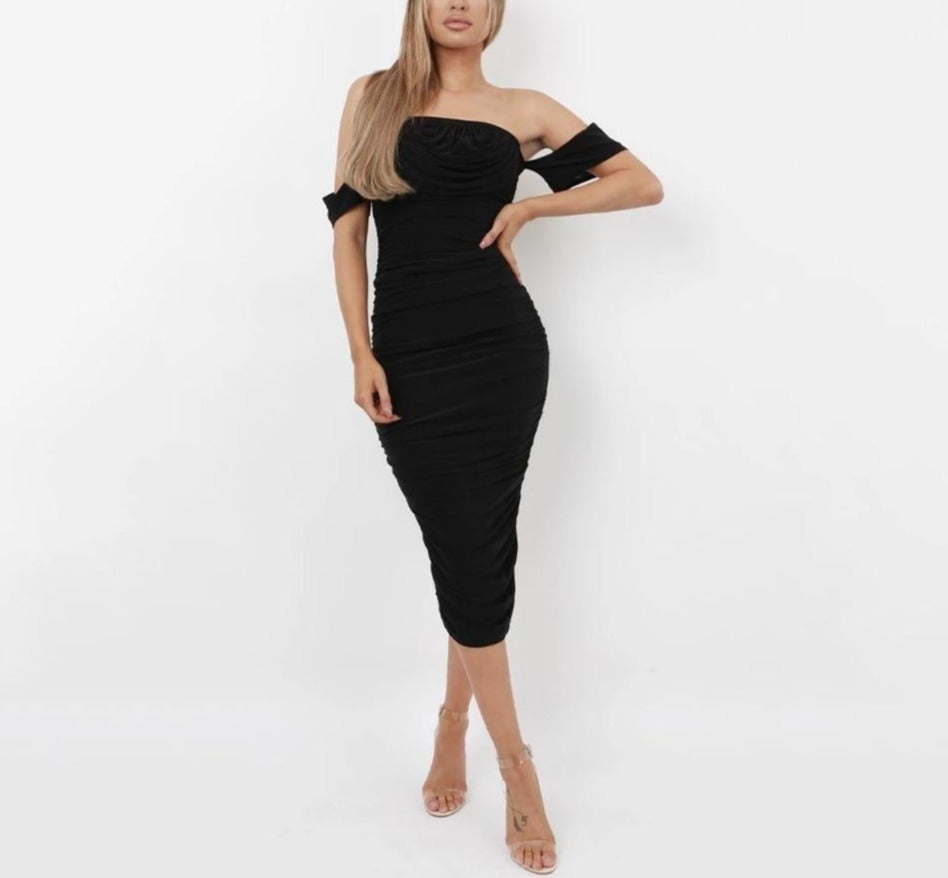 Gathered Off-Shoulder Bodycon Dress - LEPITON