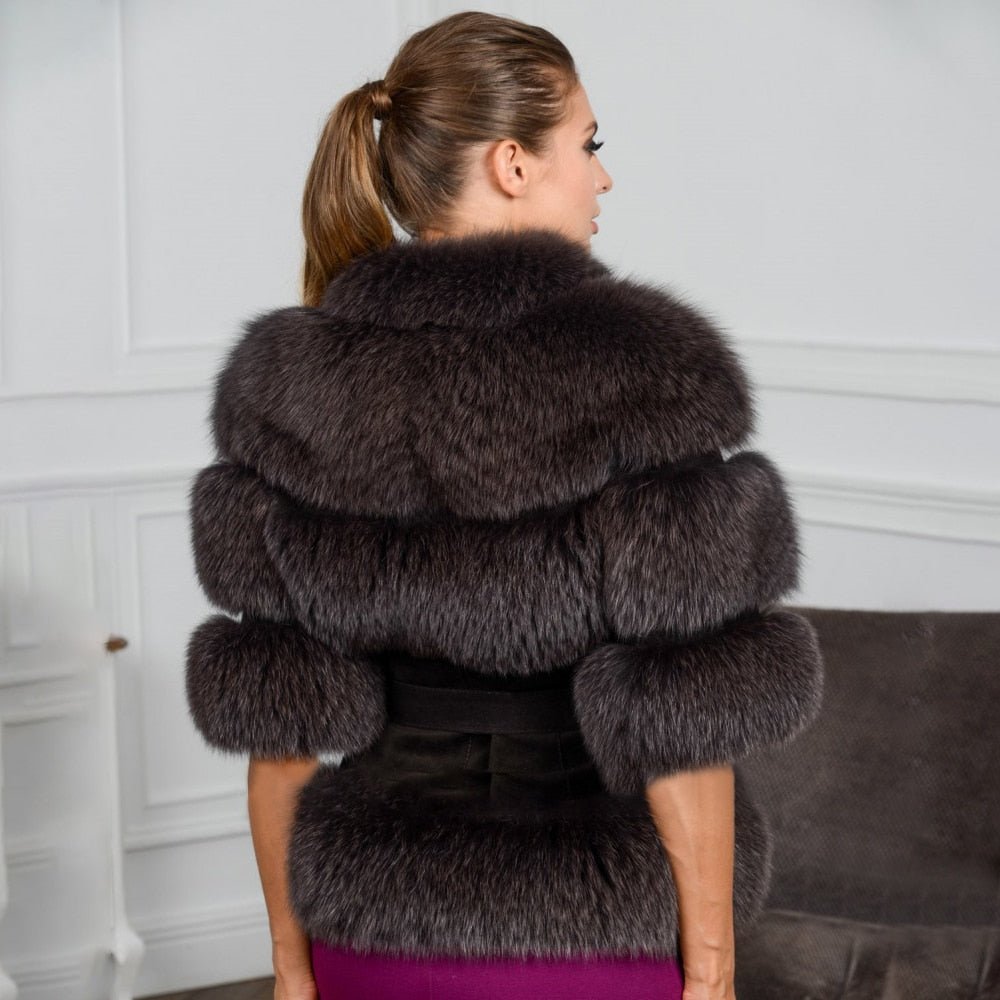 Slim Real Fox Fur Coat With Belt - LEPITON