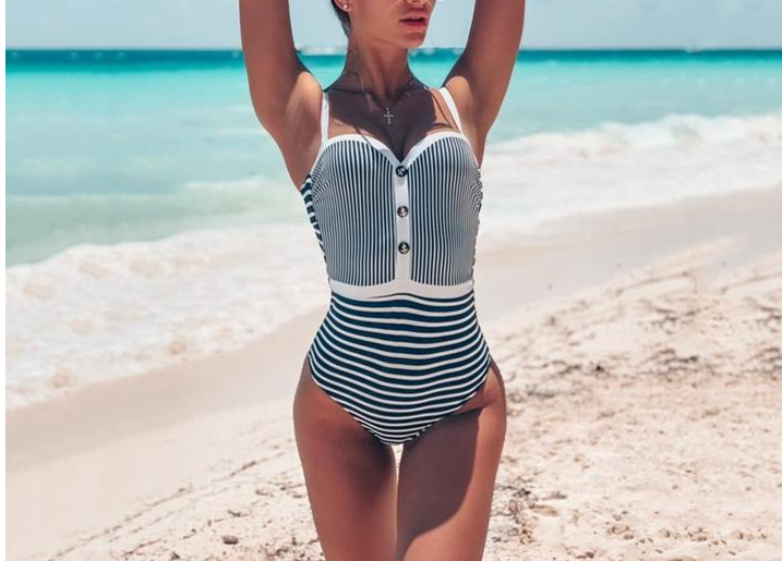 Striped Bandeau One Piece Swimsuit - LEPITON