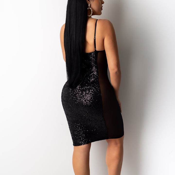 Sleeveless Spaghetti Strap Sequined Mesh Dress