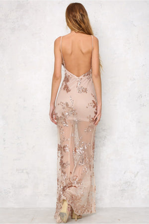 Sequin Backless Bodycon Maxi Dress - LEPITON