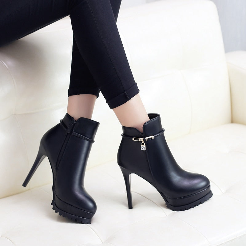 Genuine Leather Round Toe Platform Ankle Boots