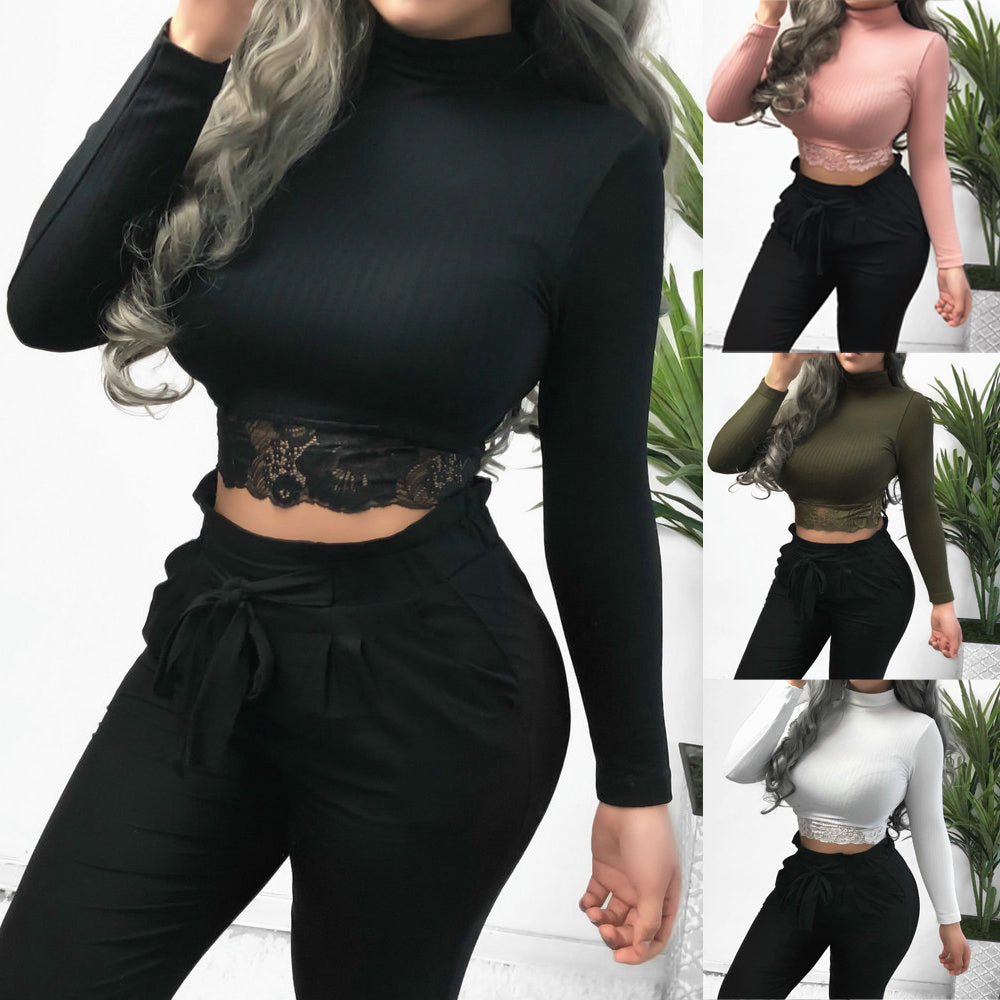Long Sleeve Turtleneck Crop Tank Tops - LEPITON